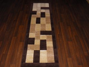 Modern Runners 60x220cm Aprox 8ft Hand Carved Super Quality Blocks Brown/Beiges